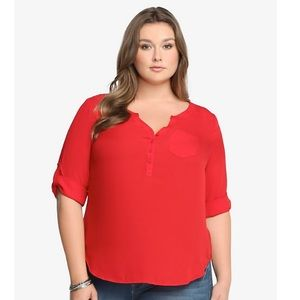 Torrid Red Button-Tab Blouse- size 3